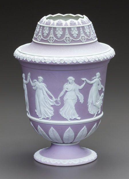 Ceramics & Porcelain, British, A WEDGWOOD LILAC JASPERWARE DOUBLE LIDDED CACHE POT. 20th century.Marks: WEDGWOOD, M, I.