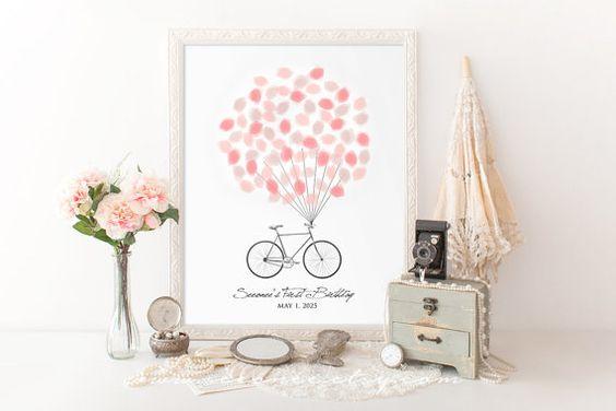 Fingerabdruck-Gästebuch - Fahrrad Geburtstag Fingerabdruck-Gästebuch - Single Fahrrad-Gästebuch digitale Datei Alternative - printable – Wandkunst