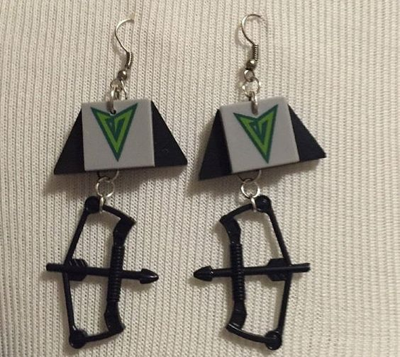 lego style blocks earrings handcrafted green by BySunshineDesign