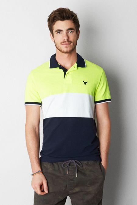 AEO Colorblock Polo, Men's, Size: 3XL, Yellow