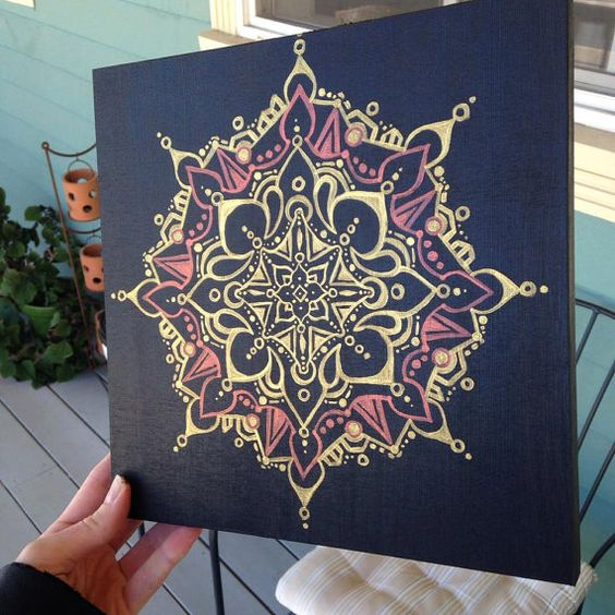 Hand-painted original mandala on wood, which I freehanded (no measurements or…