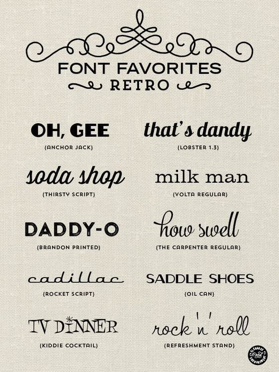 Retro fonts for graphic design, web design, blogging, paper crafts, DIY projects and more! // From Elegance and Enchantment: