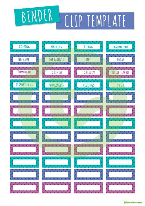 Fold Back Binder Clip Labels And Template Teaching Resource