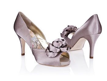 Tallulah Satin Peep Toe Platform Shoes in purple satin by Rachel Simpson.