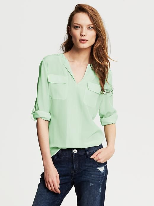 Banana Republic Heritage Silk Utility Blouse