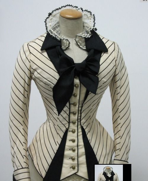 Black & white bustle bodice.  Shaping using the fabric pattern - love the different directions of the stripes.