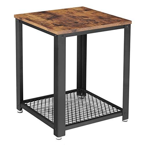 Vasagle Industrial End Table 2 Tier Side Table With Storage Shelf Sturdy Easy Assembly Wood Look Accent Furniture With Metal Frame Rustic Brown In 2020