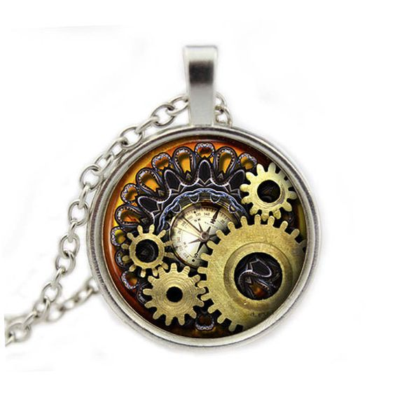 Steampunk Necklace Pendant Vintage Compass Gears Cog by AimToCharm, £6.10