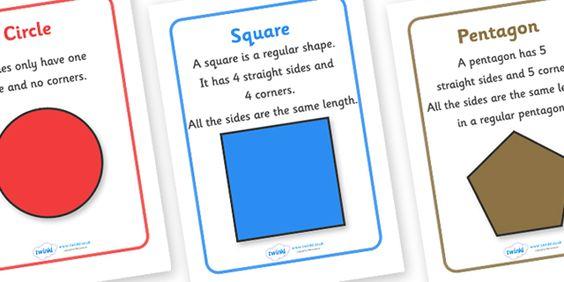 ... 2D shape names, shape flashcards, shape pictures, shape words, 3D