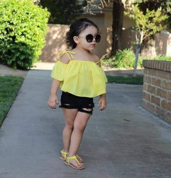 lemon Yellow Off Shoulder Top with Shorts For Kids