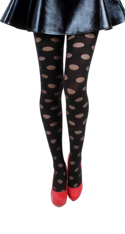 Reverse polka dot tights -- solid with fishnet circles.