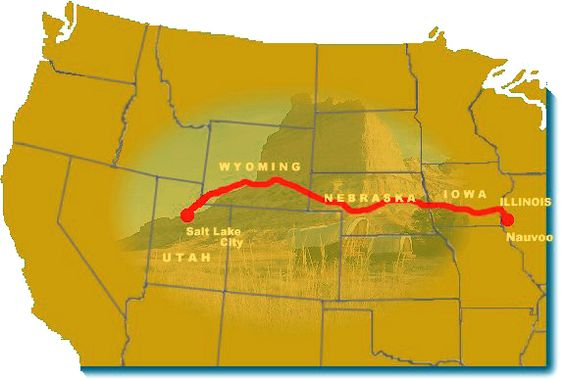The Mormon trail from Nauvoo to Salt Lake Valley.