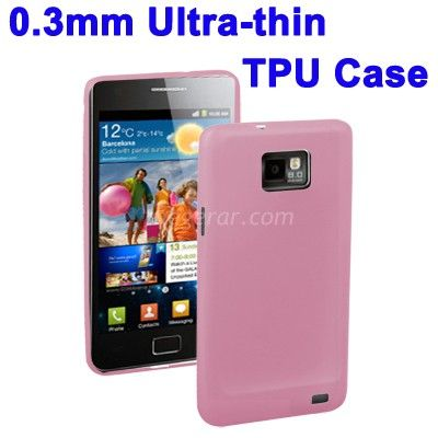 0.3mm Ultra-thin TPU Case for Samsung Galaxy S2/i9100(Pink), Tra