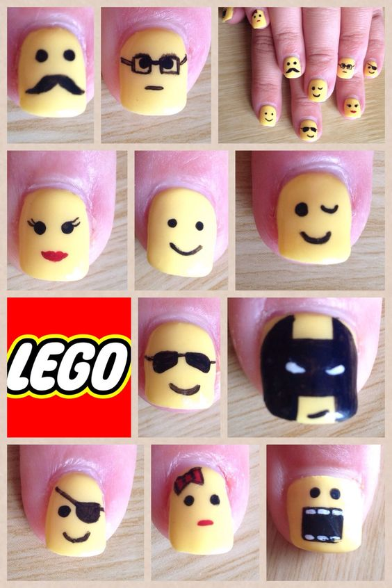 Lego faces nails, Gelish with hand paint nail art