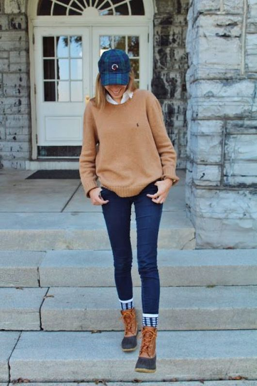 Duck boots are perfect for a preppy outfit!