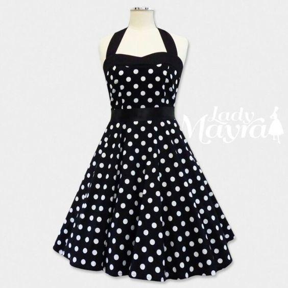 Black polka dot dress