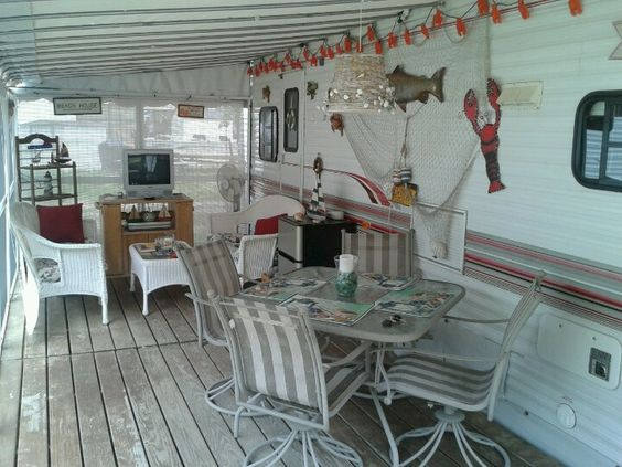 Outdoor deck attached to rv camp sweet camp pinterest for Rv outdoor decorating ideas