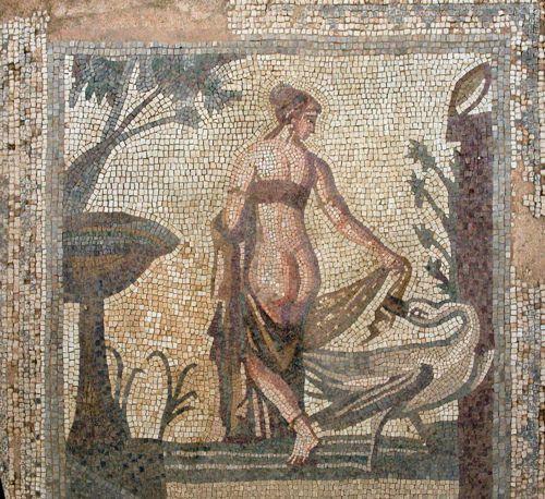 Leda y el cisne (Zeus). Villa romana de Tejada.  Quintanilla de la Cueza, Palencia.S.IV d.C.