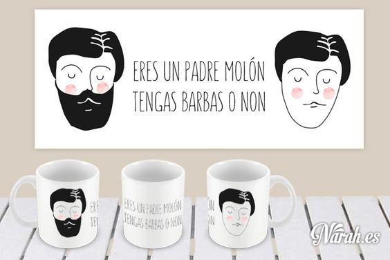 """Taza blanca decorada """"Eres un padre molón tengas barbas o non"""" 15€"""