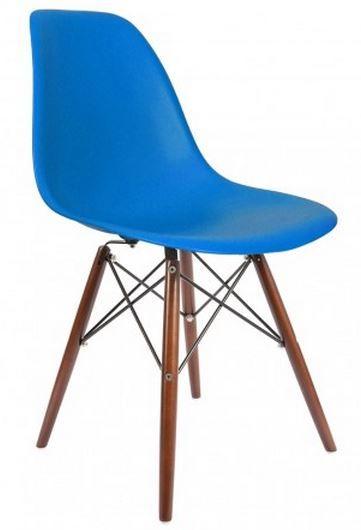 Magnifique dsw bleu roi avec des pieds noyer http for Chaise dsw bleu canard