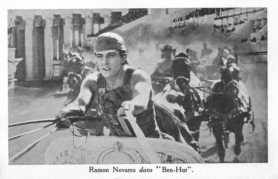 https://flic.kr/p/CgspRS | Ramon Novarro in Ben Hur (1926) | French postcard by Cinema Madeleine, Paris. Photo: publicity still for  Ben-Hur: A Tale of the Christ  (Fred Niblo, 1925). Capture: Chariot race in Ben-Hur.