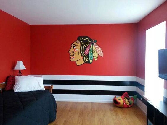 chicago blackhawks bedroom pulled together with a fathead