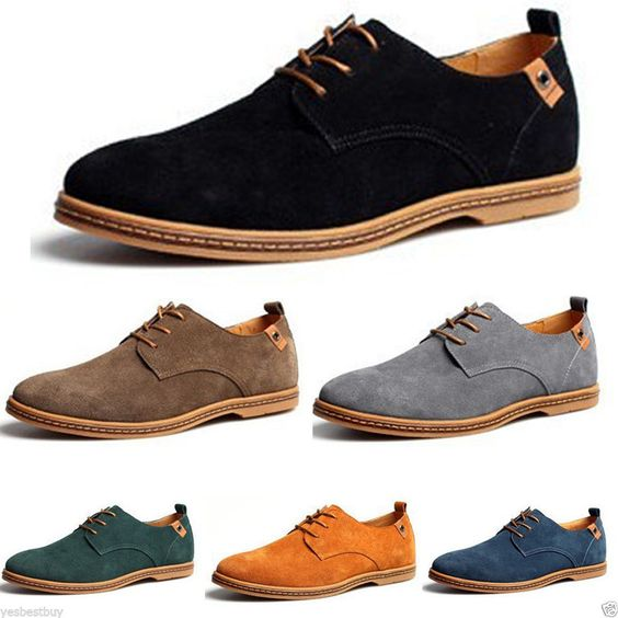 New Mens Casual/Dress Formal Oxfords Flats Shoes Genuine Suede ...