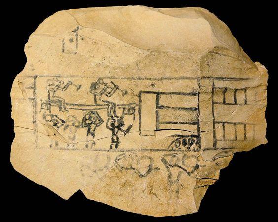 Ostracon en el Museo de Luxor, mostrando trabajos de construcción