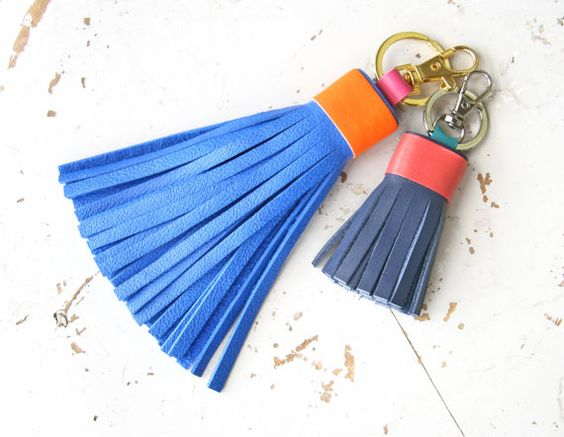 Leather Tassel Keychain Tassel Key Ring Purse Bag by SmArtAnna
