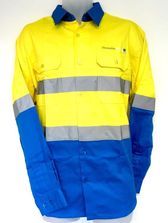 This popular cyan blue yellow hi vis cotton drill shirt for Custom hi vis shirts