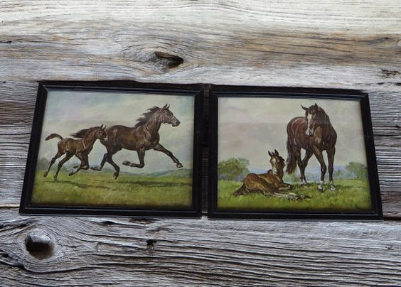horse prints framed lithograph prints brown horses donald art company new york farmhouse ranch country home