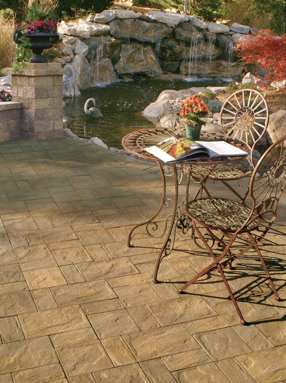 Ponds stamped concrete and patio on pinterest for Concrete backyard pond