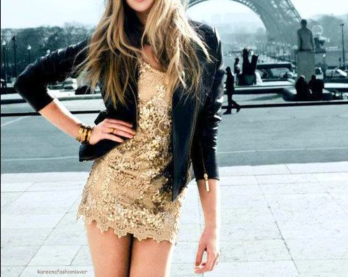gold dress.