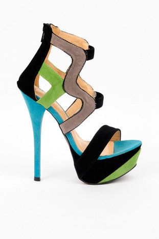 Lola Strappy Platform Heels in Black and Grey