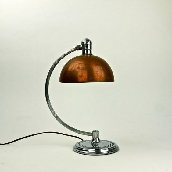 Desk Light For Art: Rare Antique American Art Deco 1930s Chase Brass And