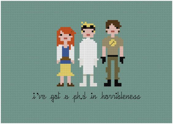 Pixel People - Dr. Horrible's Sing Along Blog - PDF Cross-stitch Pattern