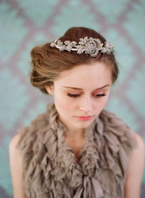 Rhinestone rose and leaf tiara