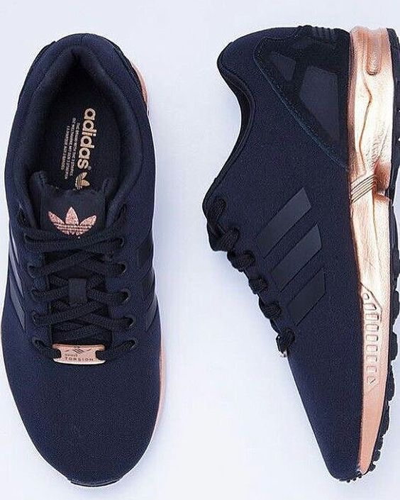 Fashion ZX Flux Core Black Copper Gold casual shoes in 2020 ...