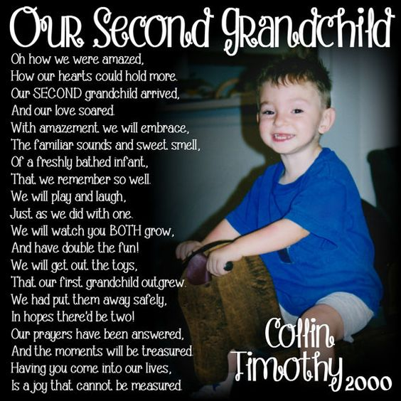 Second Grandchild Poem for GRANDMA- PERSONALIZED Larger Photo Poem Blocks