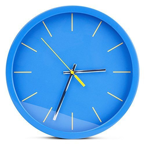 Egundo Wall Clock 12 Inch Non Ticking Round Plastic No Numbers Simple Design Clocks Ocean Colors Blue Modern Home Decoration Wall Art For Kitchen Office And Bed Blue Bedroom Walls Blue Wall Clocks