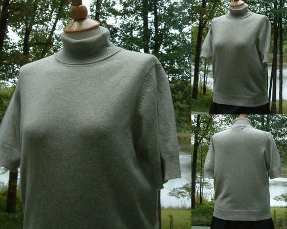 1990s does 1940s Llight Grey Short Sleeve Cashmere Turtleneck by Brooks Brothers, Made in Hong Kong, Size L by HiddenTreasureHunter on Etsy