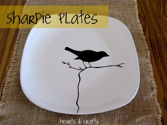 Easy diy sharpie plates great for idea for spring table for Diy ceramic plates