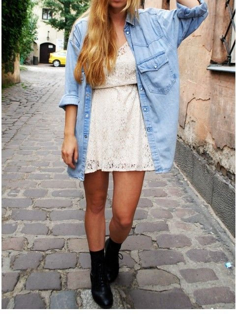 Denim shirt with lace dress