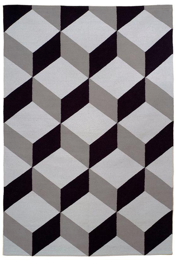 Must-have: Tumbling block flatweave rug #pattern #gray