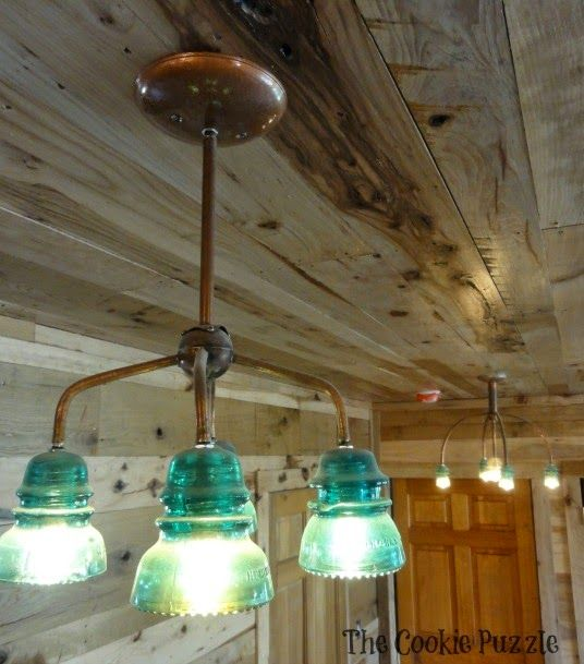 vintage glass insulator light fixture use copper tubing. Black Bedroom Furniture Sets. Home Design Ideas