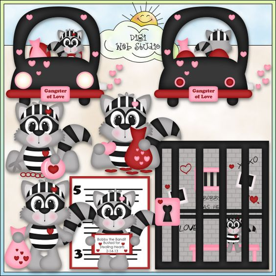Bobby The Love Bandit 1 - Exclusive Kristi W. Designs Clip Art : Digi Web Studio, Clip Art, Printable Crafts & Digital Scrapbooking!
