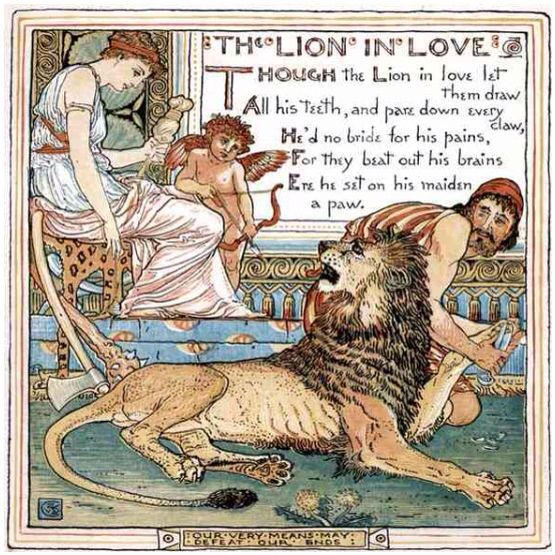 The Lion In Love from The Baby's Own Aesop by Walter Crane