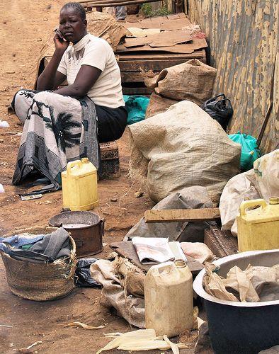 Kibera slum woman selling clothes