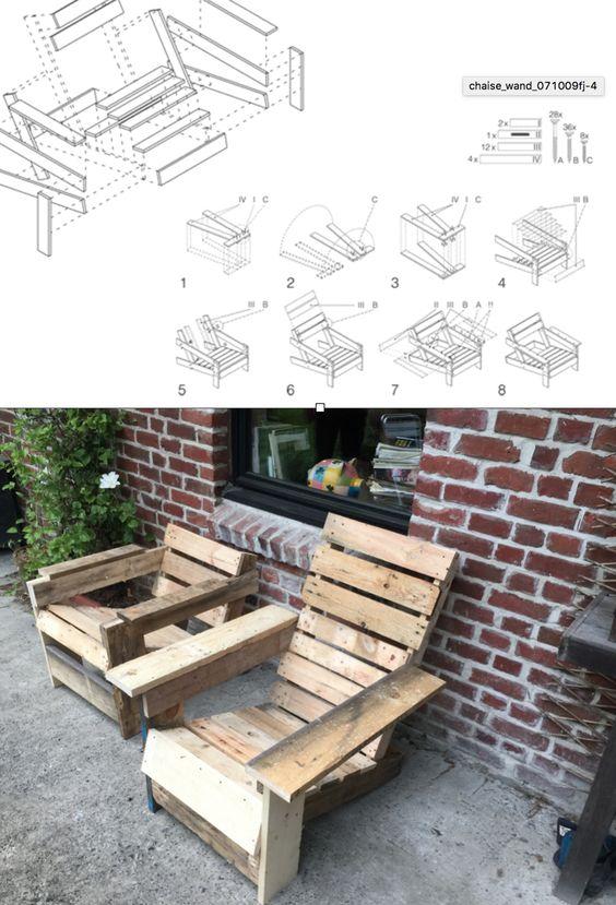 Essai d'un chaise bordelaise classique vue sur Pinterest ! Le résultat est plutôt sympa, le bois est entièrement de récup' de palettes ce qui est plutôt profitable ! Deux formats ont été essayés : la longueur du dossier ainsi que l'angle de l'assise sont les variables que nous avons fait varier.  En une journée à 2 vous pouvez en construire facilement 10 si le bois a été débité avant c'est d'une simplicité déconcertante !