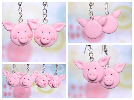 Polymer Clay Pig Earrings - Cute Polymer Clay Jewellery
